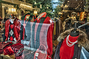 Store Fronts Prints - Well Dressed in Red Print by Allen Carroll