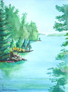 River View Paintings - Wellesley Island State Park Campers Cove by Robert P Hedden