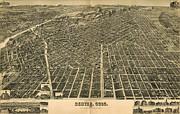 Rocky Drawings Prints - Wellges Birdseye Map of Denver Colorado Print by Eric Glaser