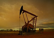 North Dakota Prints - Wellhead At Dusk Print by Jeff  Swan