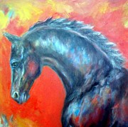 Expressionist Equine Prints - Wellington 1 Print by Relly Peckett