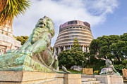 War Memorial Photos - Wellington The Beehive Parliament Buildings New Zealand by Colin and Linda McKie