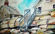 Scott Nelson Painting Framed Prints - Wells Beach Beach Stairs Framed Print by Scott Nelson