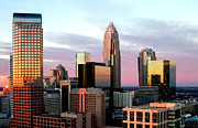 Charlotte Prints - Wells Fargo tower in Charlotte skyline Print by Patrick Schneider