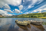 Green Boat Prints - Welsh Boats Print by Adrian Evans