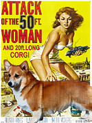 Movie Art Paintings - Welsh Corgi Pembroke Art Canvas Print - Attack of the 50ft woman Movie Poster by Sandra Sij