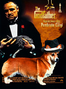 The Godfather Painting Framed Prints - Welsh Corgi Pembroke Art Canvas Print - The Godfather Movie Poster Framed Print by Sandra Sij