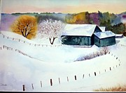 Snowscape Paintings - Welsh Pony Farm by Dale Ducillo Lewinski