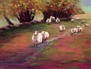 Sheep Pastels Framed Prints - Welsh Sheep Framed Print by Marion Derrett