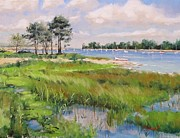 New England Ocean Painting Posters - Wentworth By The Sea Poster by Laura Lee Zanghetti
