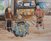 Elderly People Paintings - Were Still Here by Esther Newman-Cohen