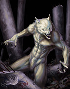 White Wolf Posters - Werewolf Poster by Bryan Syme