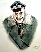 Larry Drawings - Werner Klemperer as Col Klink on Hogans Heroes   by Jim Fitzpatrick