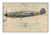 Aviation Prints - Werner Molders Messerschmitt Bf-109 - Map Background Print by Craig Tinder