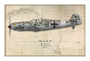 Luftwaffe Digital Art - Werner Schroer Messerschmitt Bf-109 - Map Background by Craig Tinder