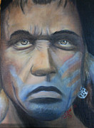 Clifton Painting Posters - Wes Studi - Brave Man Poster by Sandy Clifton