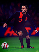 Football Player Framed Prints - Wesley Sneijder  Framed Print by Paul  Meijering