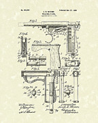 Pistol Drawings Posters - Wesson Pistol 1898 Patent Art Poster by Prior Art Design