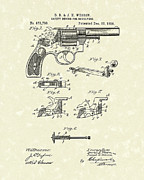 Pistol Drawings Posters - Wesson Revolver 1896 Patent Art Poster by Prior Art Design