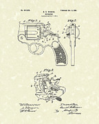 Weapon Drawings Framed Prints - Wesson Revolver 1901 Patent Art Framed Print by Prior Art Design