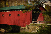 Fall  Of River Digital Art - West Arlington Covered Bridge by Priscilla Burgers