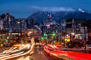 Blue Hour Framed Prints - West Broadway and Cambie Framed Print by Alexis Birkill