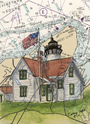 Massachusetts Coast Paintings - West Chop Lighthouse MA Nautical Chart Map Art by Cathy Peek