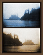 Northwest Landscape Mixed Media - West Coast Scene Diptych  - Cyanotype and Sepia by Steve Ohlsen