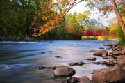 New England Autumn Art - West Cornwall Covered Bridge- Autumn  by Thomas Schoeller