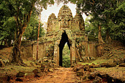 Ancient Ruins Photos - West Gate to Angkor Thom by Artur Bogacki