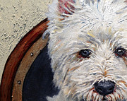 Custom Dog Portrait Paintings - West Highland Terrier Dog Portrait by Enzie Shahmiri