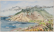 ; Maui Drawings Framed Prints - West Maui from Kula Framed Print by Fred Truitt