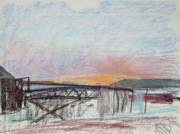 Industrial Art Drawings Prints - West Oakland Skyline at Sunset Print by Asha Carolyn Young