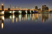 Florida Bridges Prints - West Palm Beach at Night Print by Debra and Dave Vanderlaan