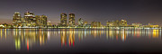 Night Scenes Photos - West Palm Beach Skyline by Debra and Dave Vanderlaan
