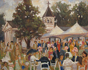 Wedding Reception Paintings - West-Peak Wedding by Barbara Davis
