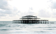 West Pier Silhouette Print by Karin Ubeleis-Jones