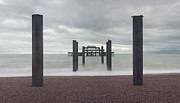 Grey Clouds Photos - West Pier Skeleton in Brighton by Semmick Photo