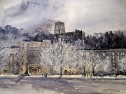 Winter Night Painting Metal Prints - West Point Winter Metal Print by Sandra Strohschein