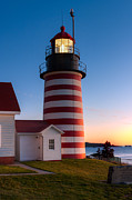 Maine Lighthouses Photo Posters - West Quoddy Head Light at Dawn I Poster by Clarence Holmes