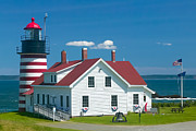 Maine Lighthouses Framed Prints - West Quoddy Head Light Framed Print by Clarence Holmes