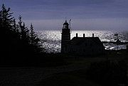 Maine Lighthouses Posters - West Quoddy Head Light Station in Silhouette Poster by Marty Saccone