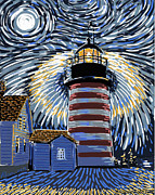 Maine Lighthouses Digital Art Framed Prints - West Quoddy Light At Night Framed Print by Alison Barrett Kent