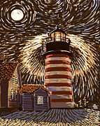 Maine Lighthouses Digital Art Prints - West Quoddy Light warm tone Print by Alison Barrett Kent
