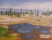 National Parks Paintings - West Thumb Geyser Basin Yellowstone by Sally Jones