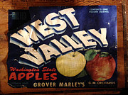 Greengrocer Framed Prints - West Valley Apples Crate Label Framed Print by Richard Reeve