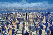 New York State Paintings - West view from Empire State Building by George Atsametakis