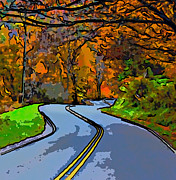 Us Open Digital Art - West Virginia Curves 2 line art by Steve Harrington