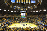 Basketball Photo Posters - West Virginia Mountaineers WVU Coliseum Poster by Replay Photos