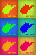 West Virginia Framed Prints - West Virginia Pop Art Map 1 Framed Print by Irina  March